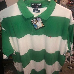 Vintage Polo Sport Green Striped Polo 2X-3x